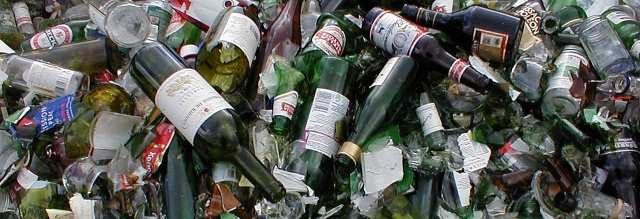Image of empty bottles for recycling